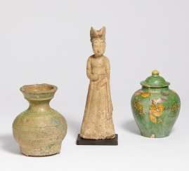 Figure of a lady and two vessels