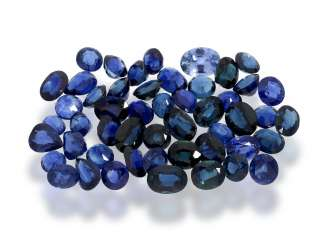 Sapphire: large collection of numerous sapphires of beautiful color, for a total of approx. 50,5 ct, partly untreated, partly heated