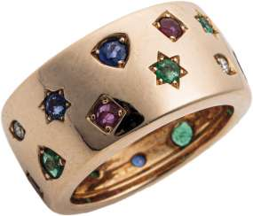 Band ring with Colour gemstones and diamonds