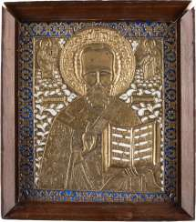 LARGE BRONZE ICON WITH ST. NICHOLAS OF MYRA