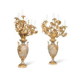 A PAIR OF FRENCH ORMOLU-MOUNTED FLOURSPAR SEVEN-LIGHT CANDELABRA
