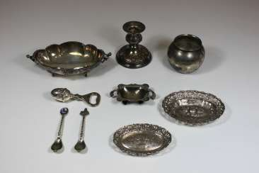 Mixed Lot Of 9 Parts Of Silver/ Silver-Plated