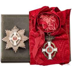 Order of George I. Grand cross with breast star in case, ribbon sash