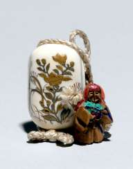 Miniature Inro is made of ivory with a floral gold lacquer décor & Ojime made of wood in the Form of Shojo