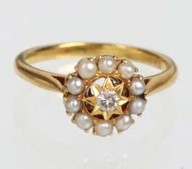 Diamond ring with seed pearls - yellow gold 750