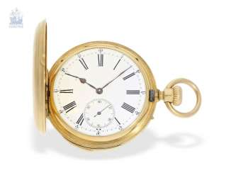 Pocket watch: early, small gold savonnette with Repetition, calibre Le Coultre, Rossel & Fils, Geneve, No. 90279, high fine quality, CA. 1860