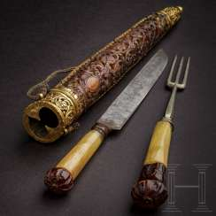 Important luxury cutlery with amber knobs, probably Königsberg, 2nd half of the 17th century