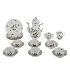 HEREND coffee service for 6 persons, 'Rothschild', 20. Century.