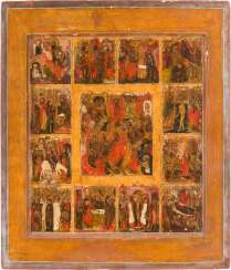 LARGE-FORMAT ICON WITH THE HADES, THE RESURRECTION, AND THE HIGH STRENGTH OF THE ORTHODOX CHURCH YEAR