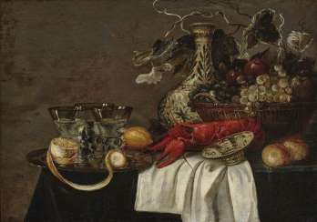 Still life with Lobster, fruit and glasses