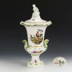 Lid vase with poultry and flower painting