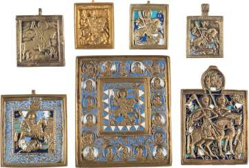 SIGNED ICON AND SIX BRONZE ICONS WITH THE SAINTS GEORG, BORIS, AND GLEB