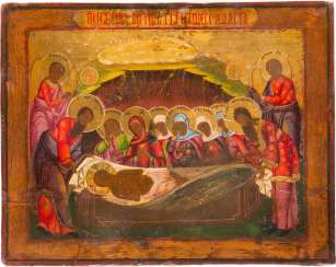 LARGE AND RARE ICON OF THE ENTOMBMENT OF CHRIST