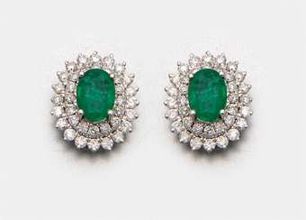 Pair of Colombian emerald earrings