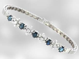 Bracelet: decorative white gold vintage bracelet with sapphires and brilliant-cut diamonds, total approx. 1,84 ct, 18K Gold