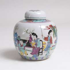 Small Famille rose lidded vase with figurative scene
