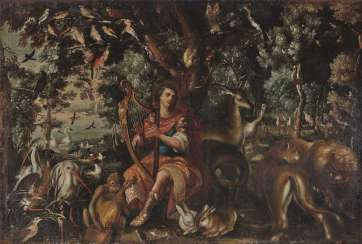 Orpheus enchants the animals and trees with his harp playing