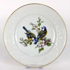 Institutional / wall plate: Meissen porcelain, bird painting Wallpapers, blue tit with Apple blossom, very good.