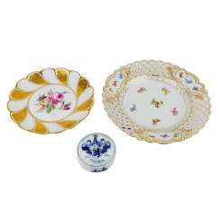 MEISSEN 3 PCs vintage plate with lid, 19th century. /20. Century
