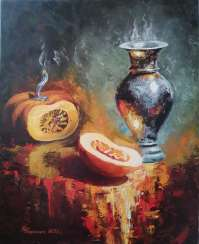 """Still life with a jug and pumpkin""."