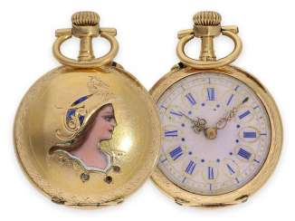 Pocket watch: rare Art Nouveau Gold/enamel watch with a representation of the goddess Athena, Le Coultre No. 6098, CA. 1900