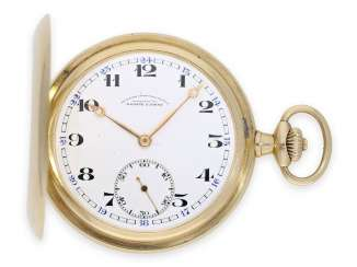 Pocket watch: very well-preserved A. Lange & Söhne gold savonnette, Glashütte 1920-1925, with the master excerpt from the book