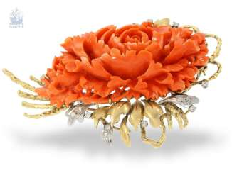 Brooch: a particularly attractive, high-quality, unique vintage coral brooch in floral style, hand work, probably around 1960, with a value opinion