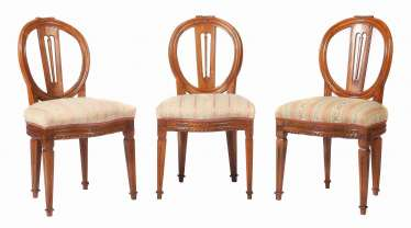Three classicist style chairs around 1820
