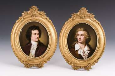 Pair of porcelain paintings: portraits of Schiller and Goethe