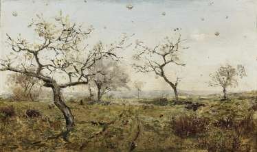 Meadow with flowering fruit trees , Levitan, Isaak Il'ch (Isaak Illych), attributed in 1860, Kibarty (Wirballen) - 1900 Moscow, attributed to