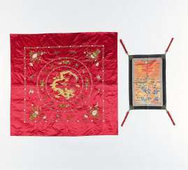 Table cloth with a dragon and a chair fief hanging with Qilin