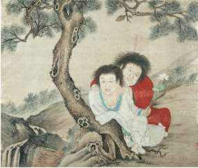 Hanshan and Shide under a pine tree