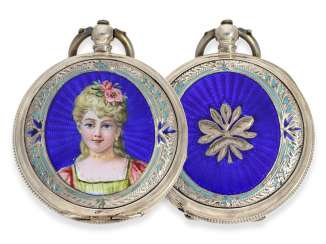 Pocket watch: rare enameled ladies savonnette for the Chinese market, Juvet No. 59690, CA. 1860