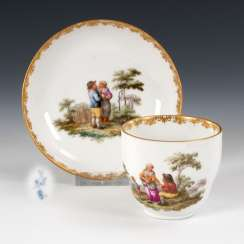 Cup with genre painting, MEISSEN.