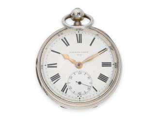 Pocket watch: extremely rare and very unusual, especially heavy French Pocket chronometer in the English construction, Poitevin, Paris, No. 6744, Hallmarks 1879