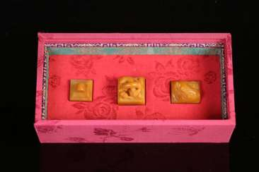 A set of Shoushan Tianhuang jade carving seals in the Qing Dynasty