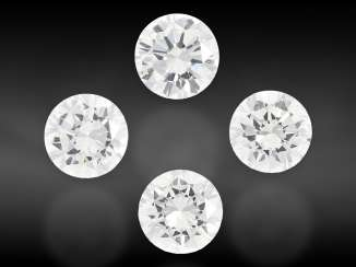 Brilliant: Mixed lot of 4 brilliant-cut diamonds of the finest quality, a total of approx. 1.6 ct, from the liquidation of the court jeweler Roesner