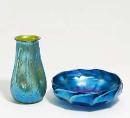 Vase and bowl with iridescent decor