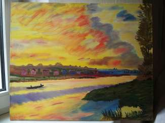 Sunset on the river. Based on Claude Monet. Sunset on the river.Based on Claude Monet.