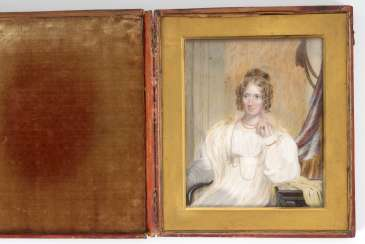 COLLEN, Henry: Large ivory-portrait in red box