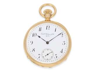 Pocket watch: early Patek Philippe men's watch, small, fine Anchor chronometer in rose gold, No. 59815, Geneva, CA. 1880