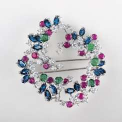 Very fine Vintage ruby-sapphire-emerald brooch with diamonds