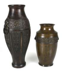 Two bronze vases with archaistischem decor, one with inscription