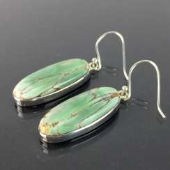 Pair of stylish drop earrings, of elongated Form with a beautiful Variscite / Variszit in silver 925.