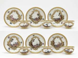 Six cups with lower shells, Meissen, around 1740