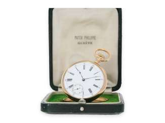 Pocket watch: elegant men's pocket watch by Patek Philippe with original box, Anchor chronometer, supplied to the chronometer-maker Rodanet in Paris, CA. 1885
