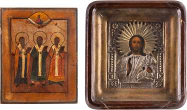 TWO ICONS: CHRIST PANTORKATOR WITH OKLAD IN KIOT AND THREE HIERARKS Russia