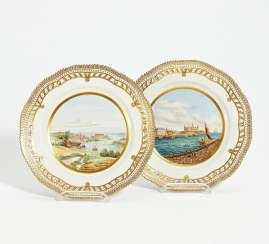 2 plates Flora Danica with Copenhagen city views