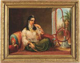 A reclining maiden smoking a hookah