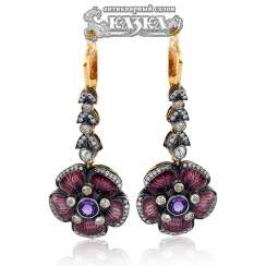 Earring pendants with amethyst guilloche enamel